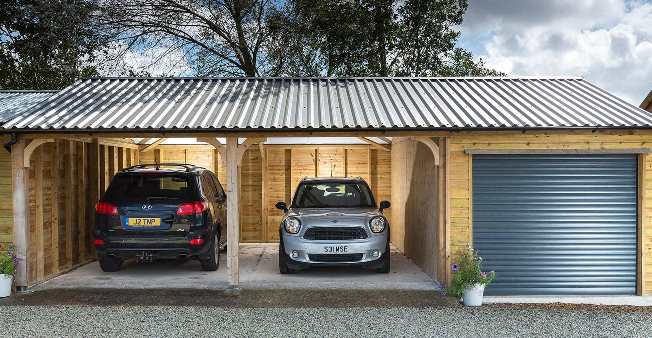 Large Wooden Timber Car Port