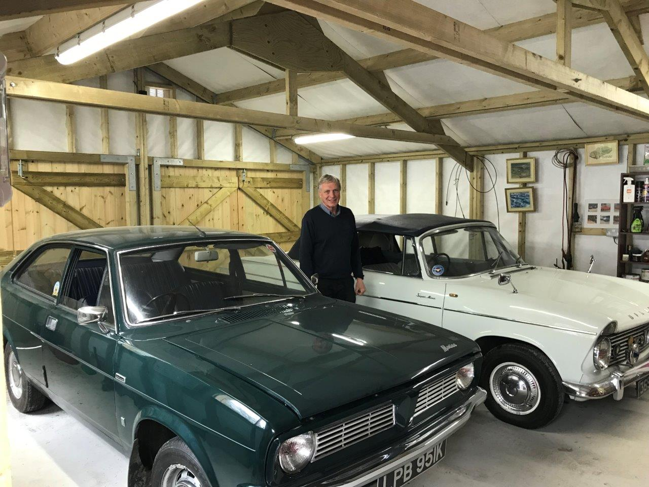 Classic cars in double garage