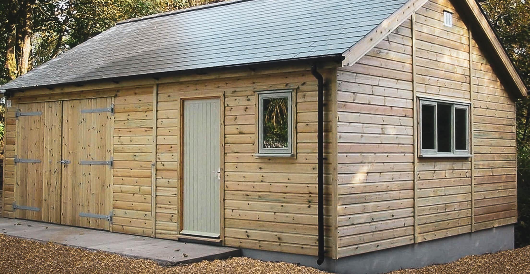 Large garage workshop slate roof