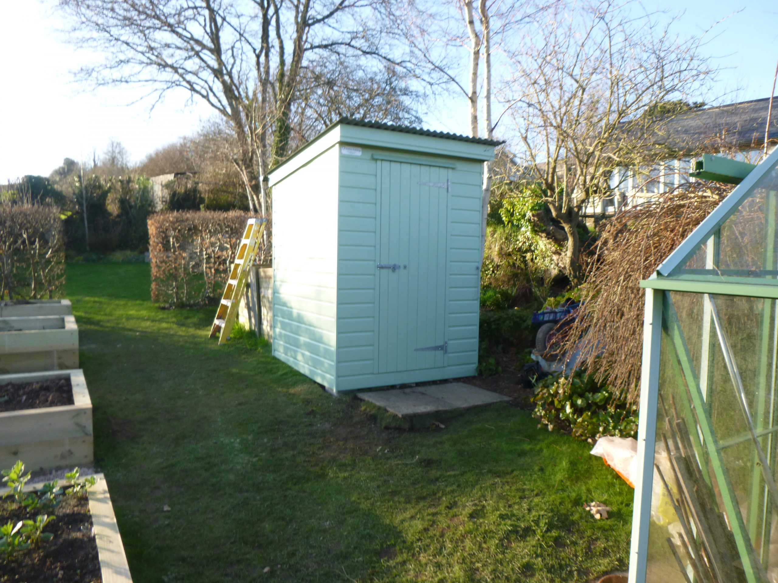 Pent roof painted shed
