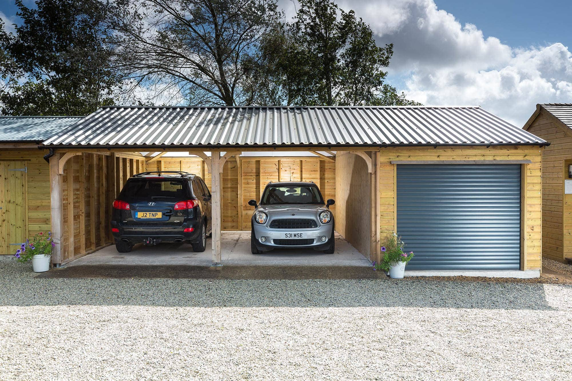 Wooden Carport and Garage Combo