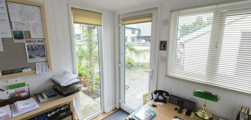 Garden office with floor length window