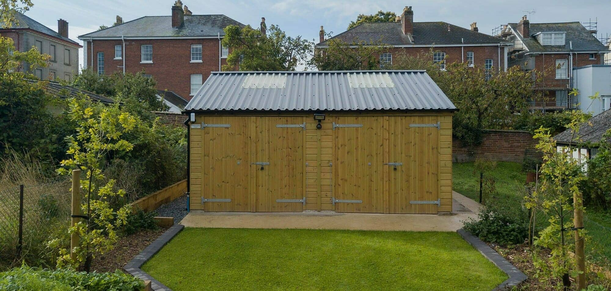 2 Car Timber Garage with Corrugated Apex Roof