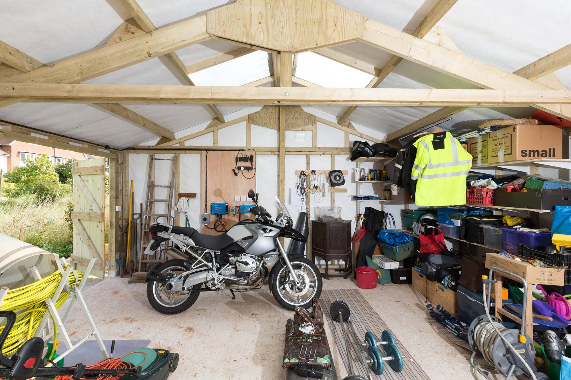 Inside view of custom wooden garage