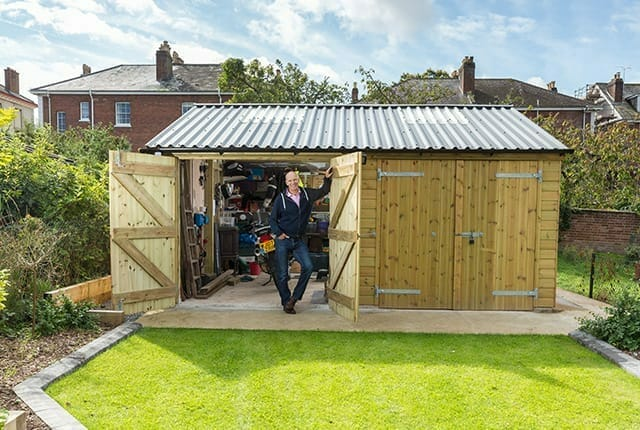 Bespoke double wooden garage with concrete base