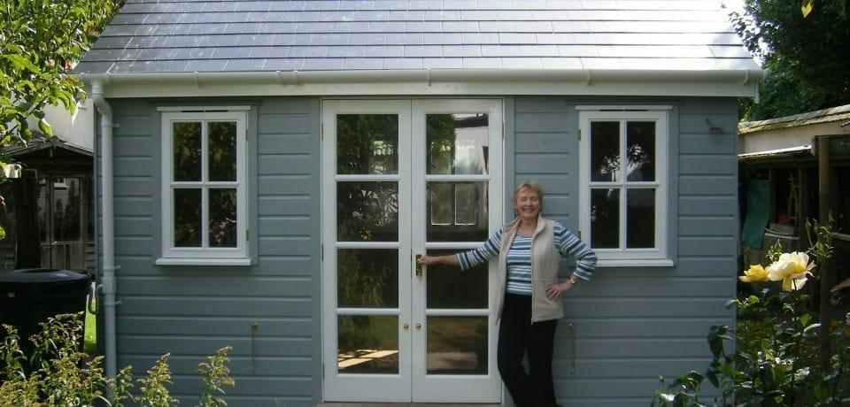 Smart grey summerhouse double doors