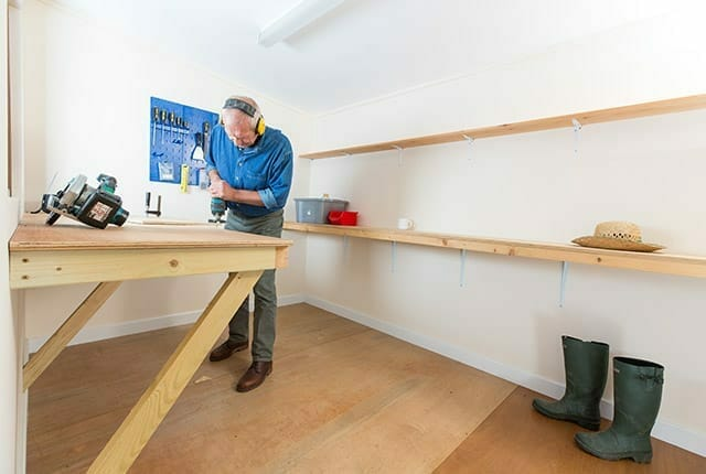 Workshops built for purpose with shelving