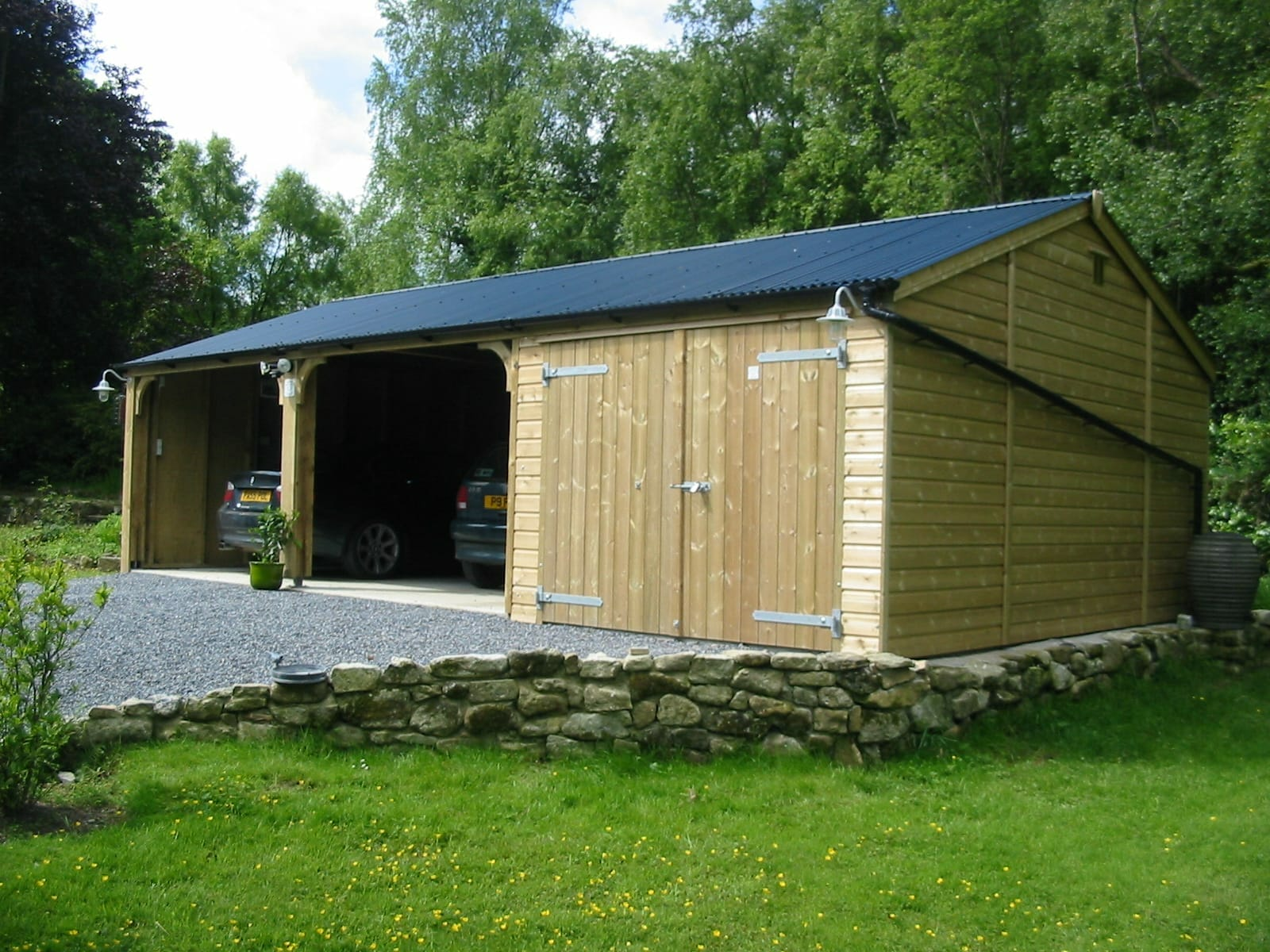 Double Wooden Carport with Timber Garage