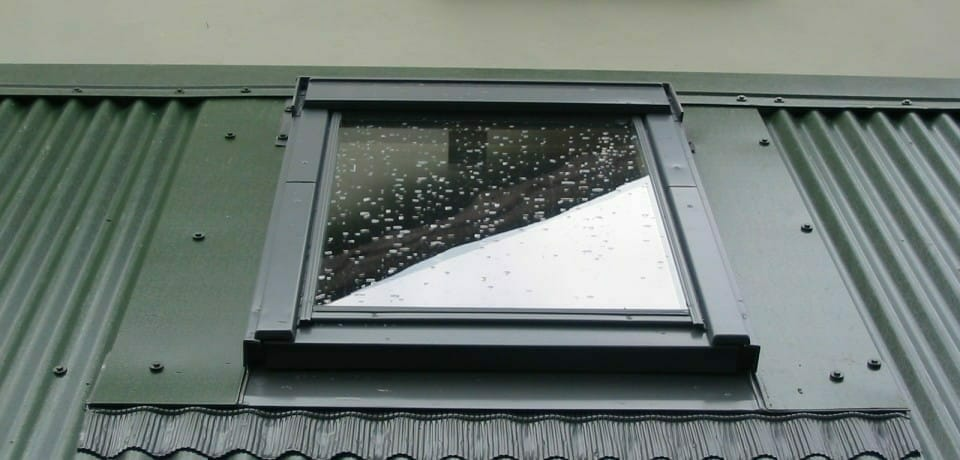 Velux window in corrugated roof