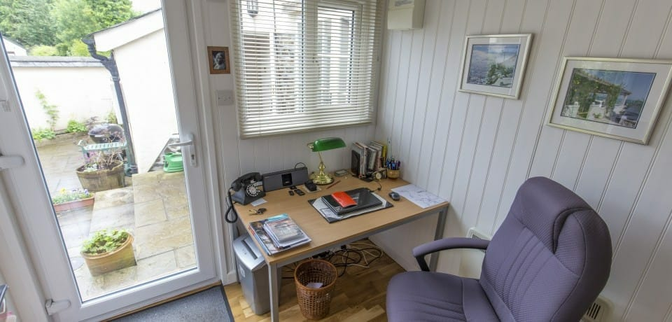 Garden office with oak flooring