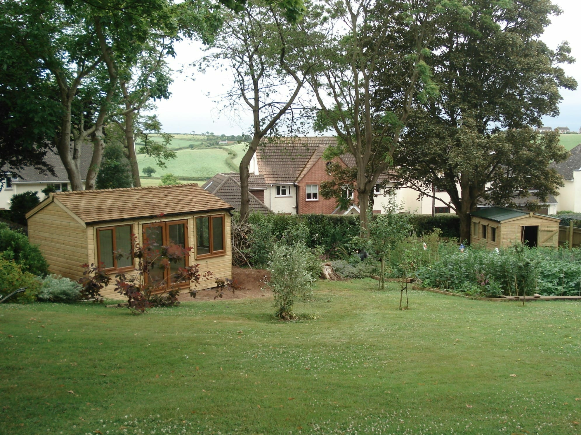 Large garden with summerhouse and shed