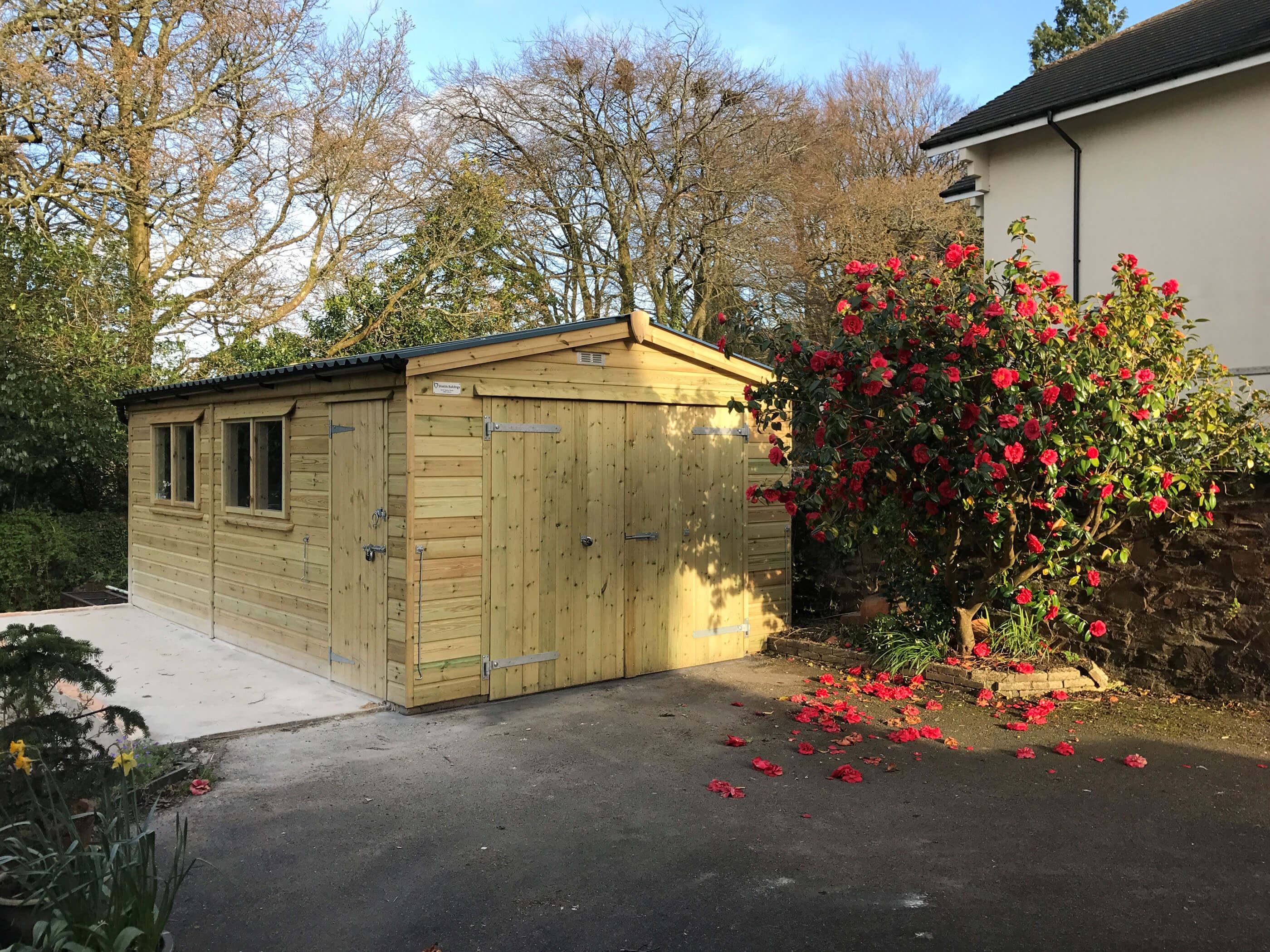 Beautiful natural timber garage with double doors