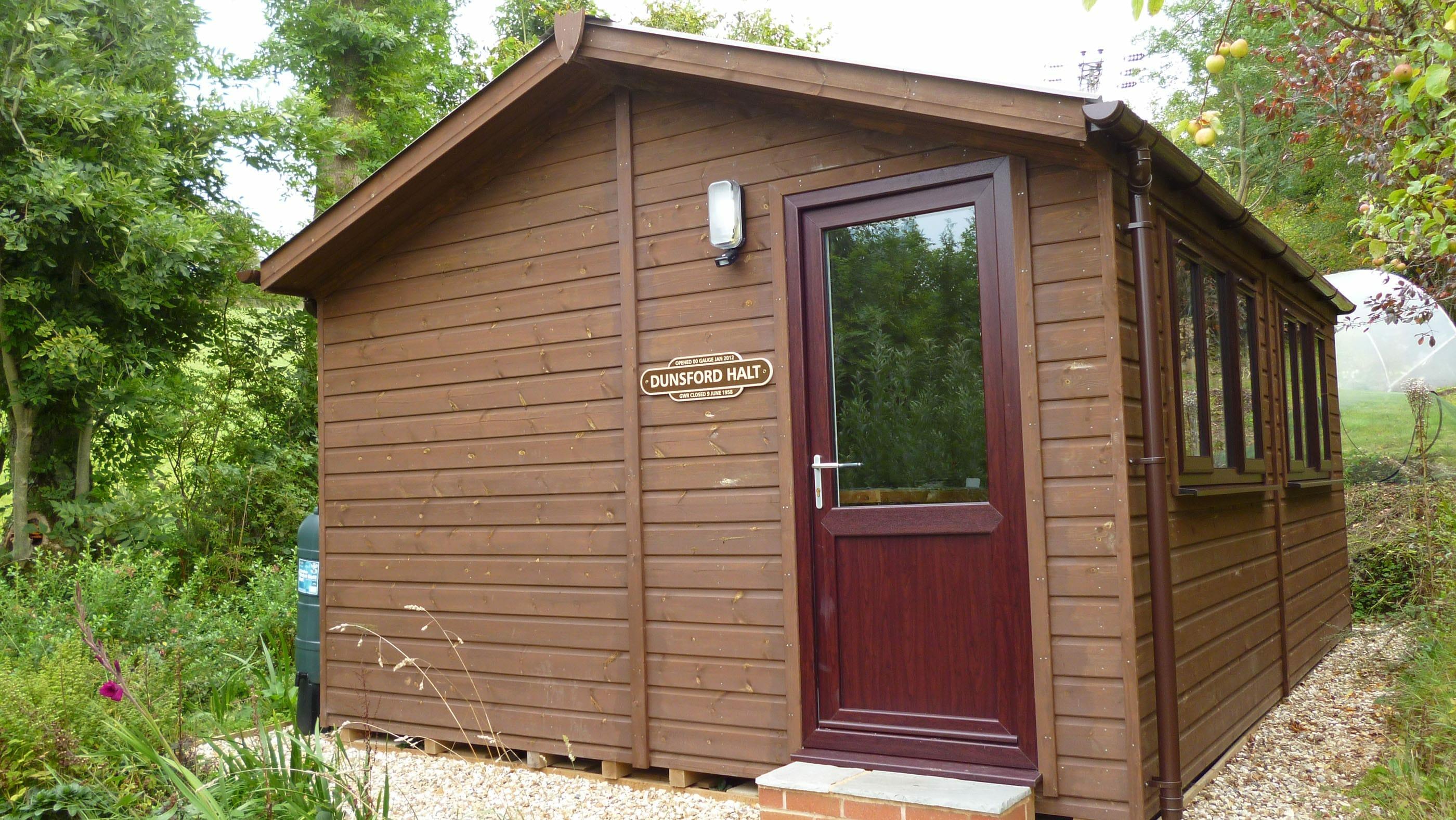 Wood clad workshop building