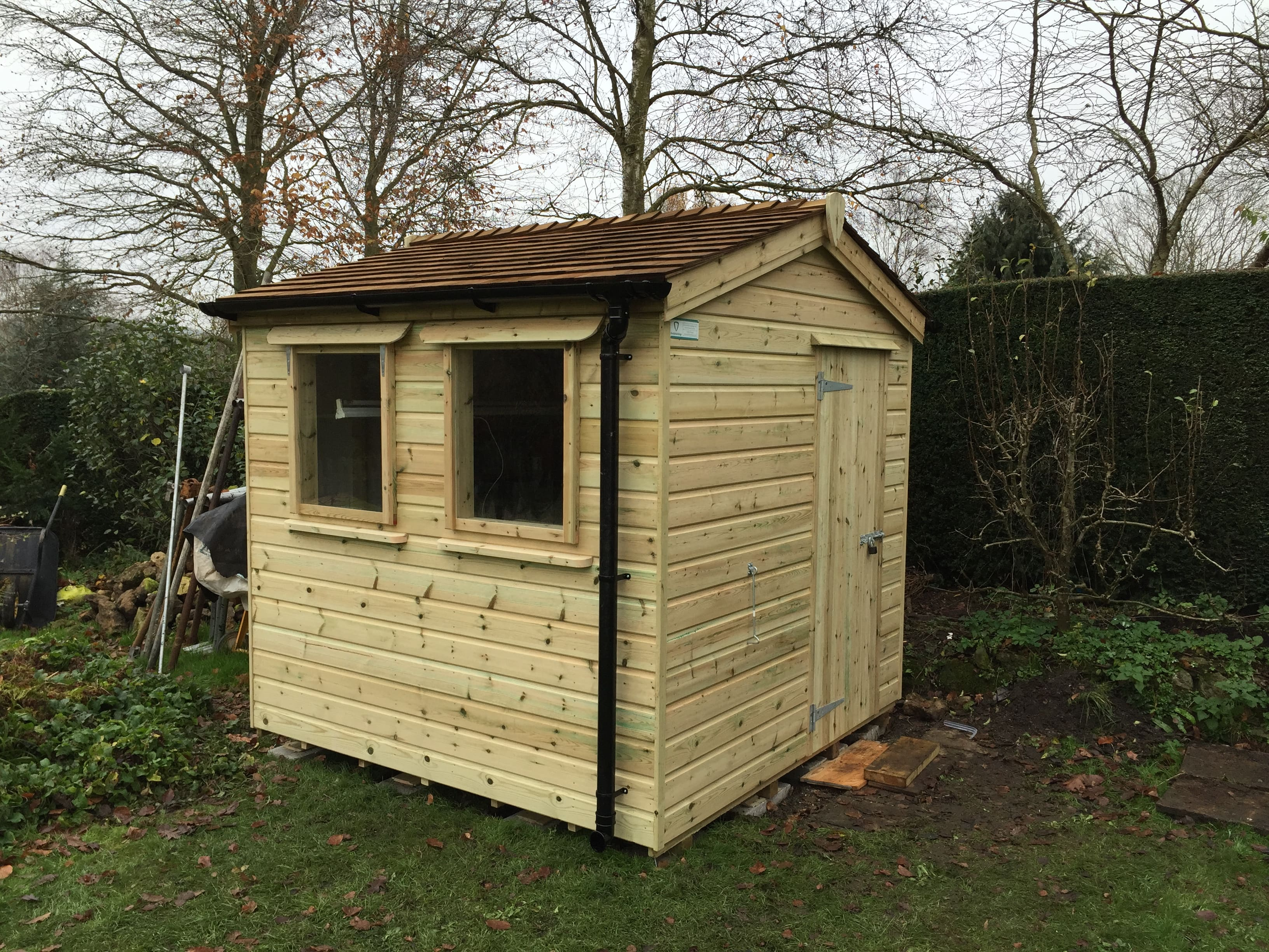 Small cedar roof garden shed