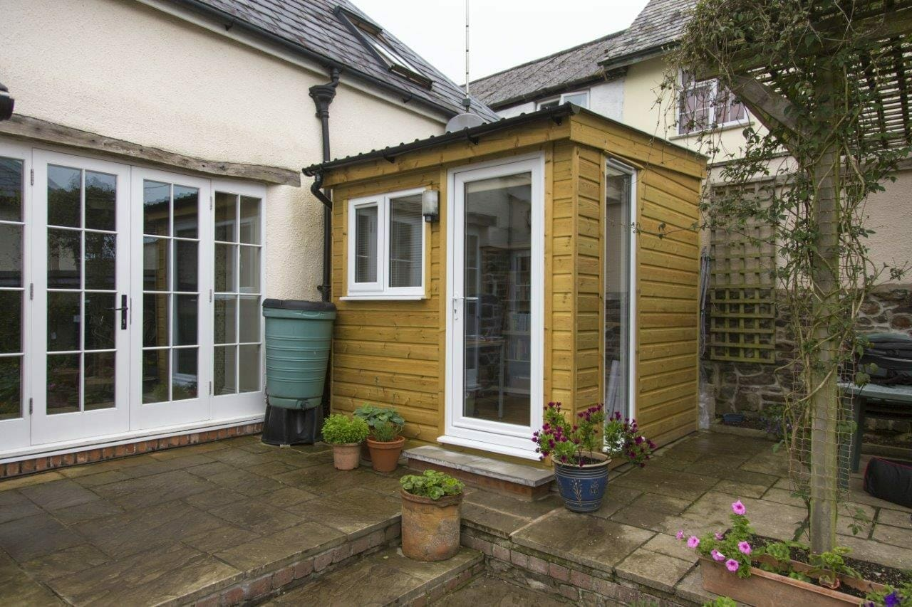 Small garden office on hardstanding