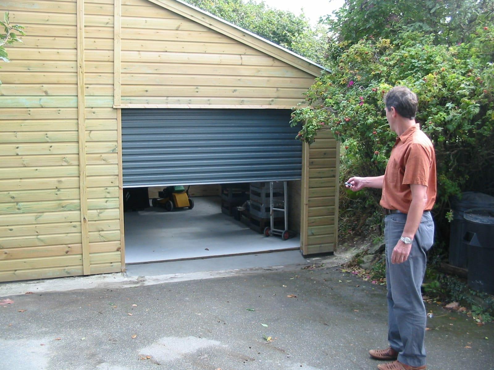 Built in storage shed with roller door