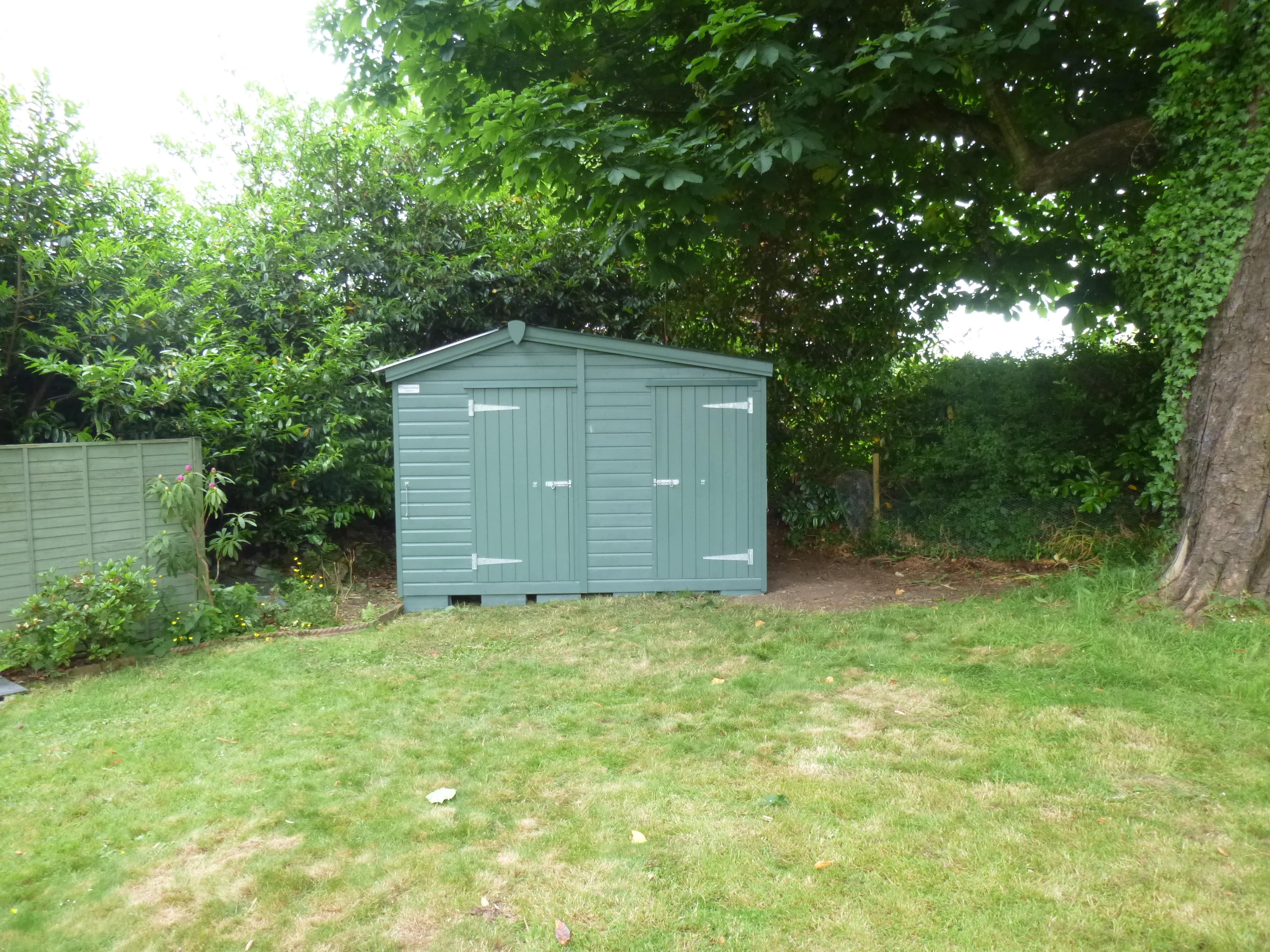 Painted garden shed and store combination