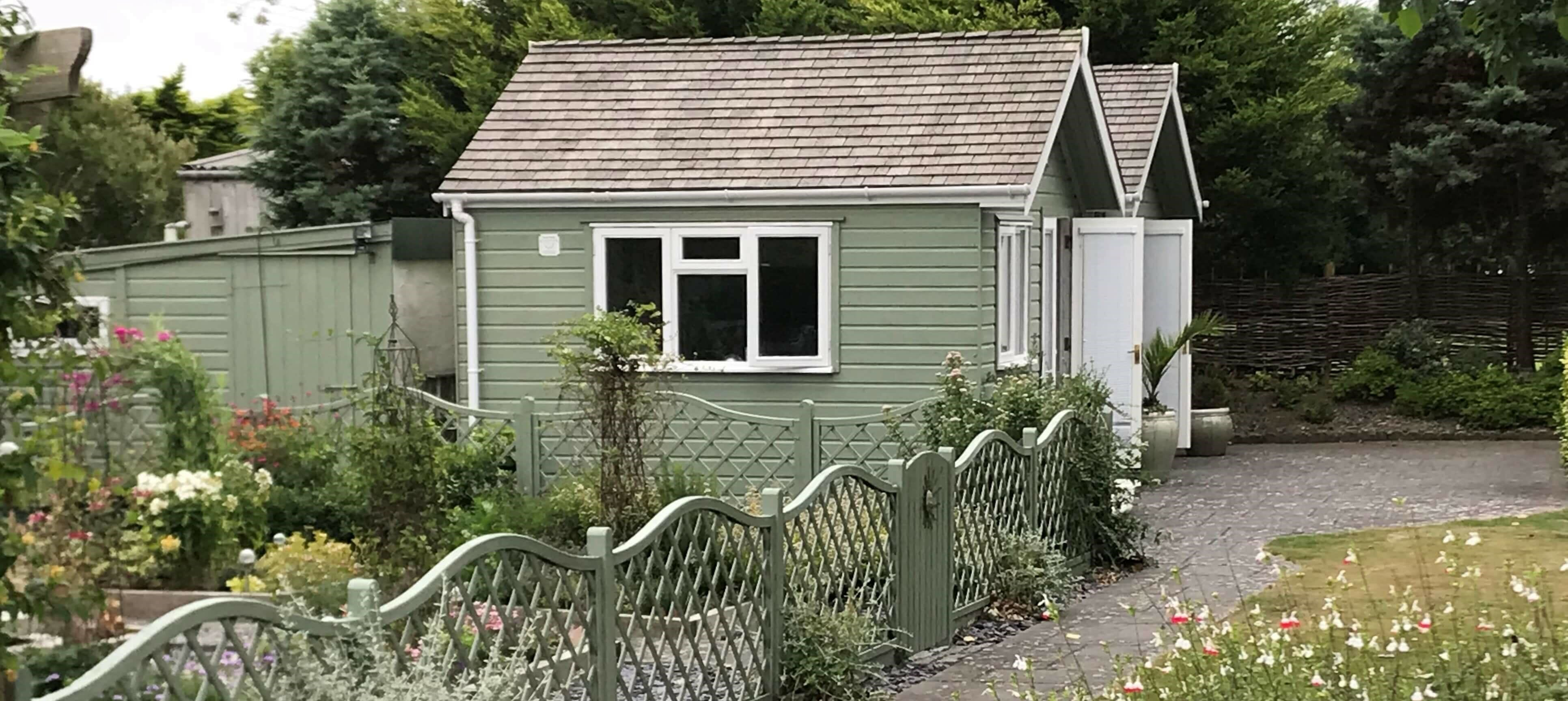 Twin painted garden offices