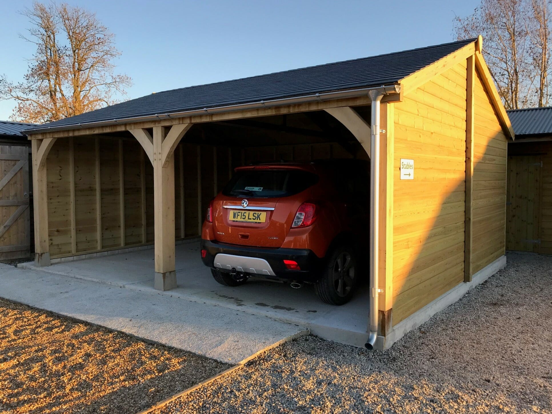 Oak fronted Carport