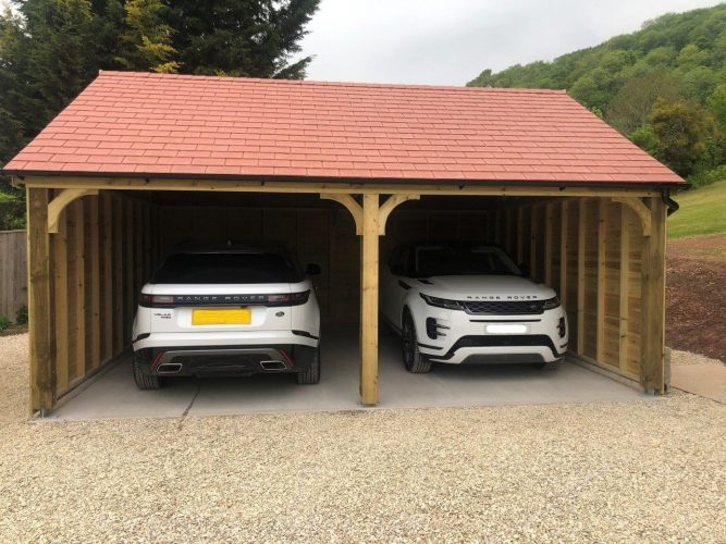 Carport with synthetic slate roof